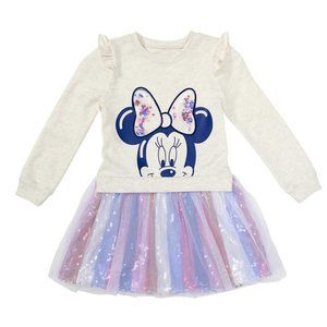 Disney Sweatshirt Dress, Minnie Ruffle shoulders